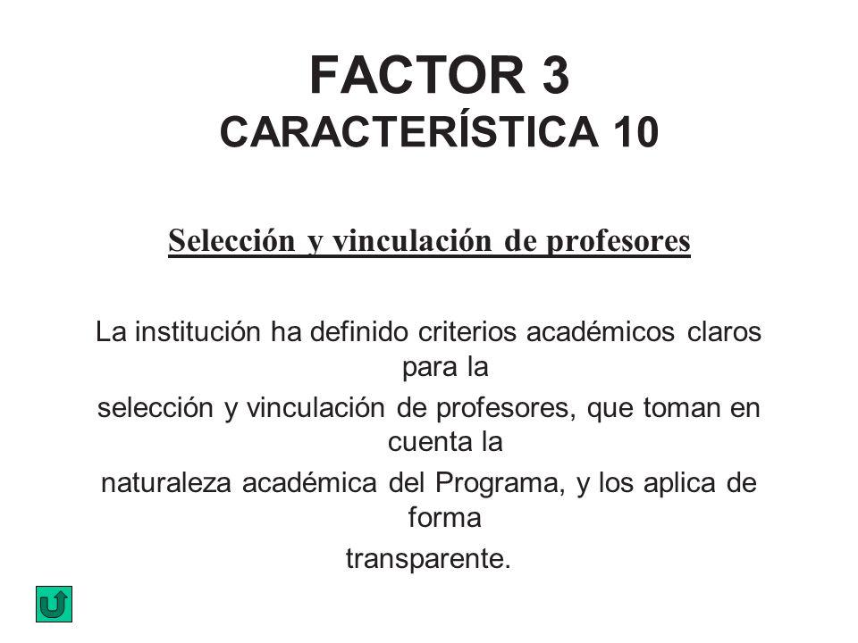 FACTOR 3 CARACTERÍSTICA 10 Selección y vinculación de profesores La institución ha definido criterios académicos claros para la selección y vinculació