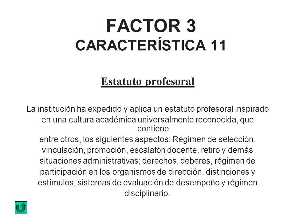 FACTOR 3 CARACTERÍSTICA 11 Estatuto profesoral La institución ha expedido y aplica un estatuto profesoral inspirado en una cultura académica universal