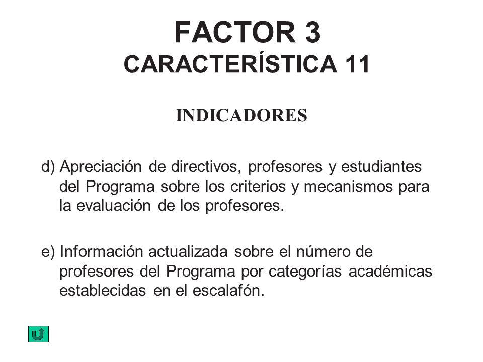 FACTOR 3 CARACTERÍSTICA 11 INDICADORES d) Apreciación de directivos, profesores y estudiantes del Programa sobre los criterios y mecanismos para la ev