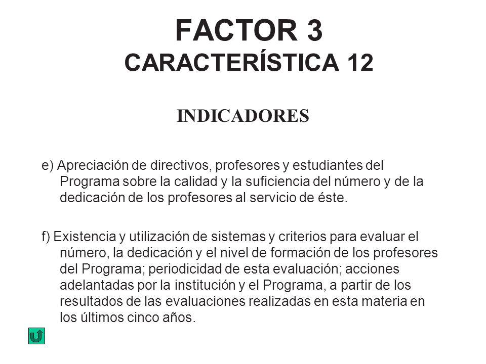 FACTOR 3 CARACTERÍSTICA 12 INDICADORES e) Apreciación de directivos, profesores y estudiantes del Programa sobre la calidad y la suficiencia del númer