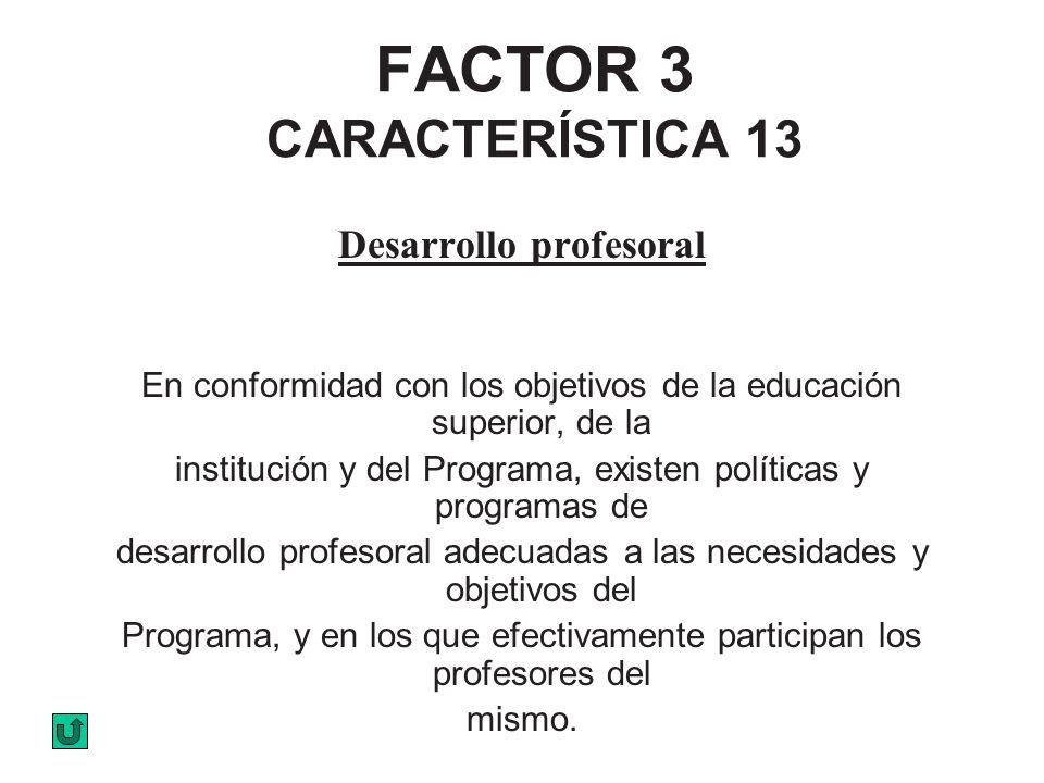 FACTOR 3 CARACTERÍSTICA 13 Desarrollo profesoral En conformidad con los objetivos de la educación superior, de la institución y del Programa, existen