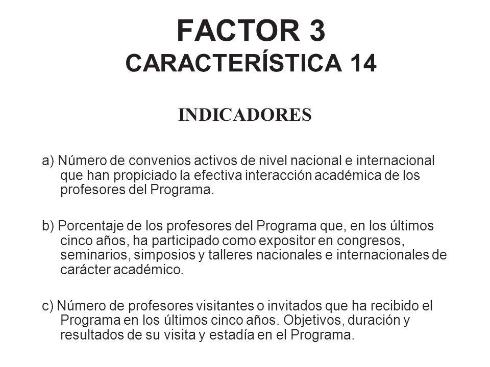FACTOR 3 CARACTERÍSTICA 14 INDICADORES a) Número de convenios activos de nivel nacional e internacional que han propiciado la efectiva interacción aca