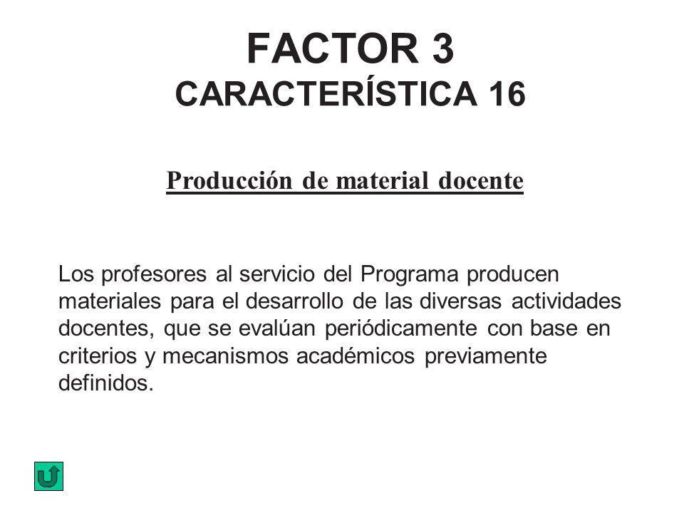 FACTOR 3 CARACTERÍSTICA 16 Producción de material docente Los profesores al servicio del Programa producen materiales para el desarrollo de las divers