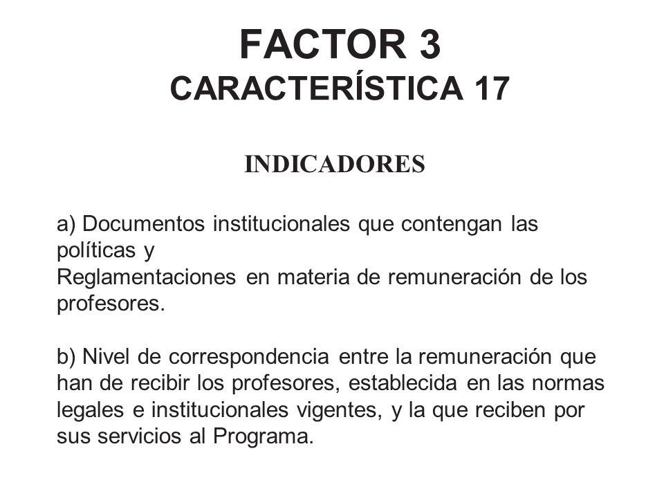 FACTOR 3 CARACTERÍSTICA 17 INDICADORES a) Documentos institucionales que contengan las políticas y Reglamentaciones en materia de remuneración de los