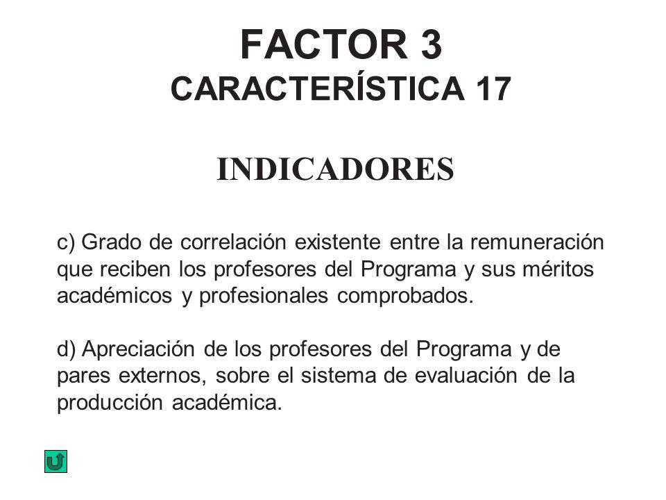 FACTOR 3 CARACTERÍSTICA 17 INDICADORES c) Grado de correlación existente entre la remuneración que reciben los profesores del Programa y sus méritos a
