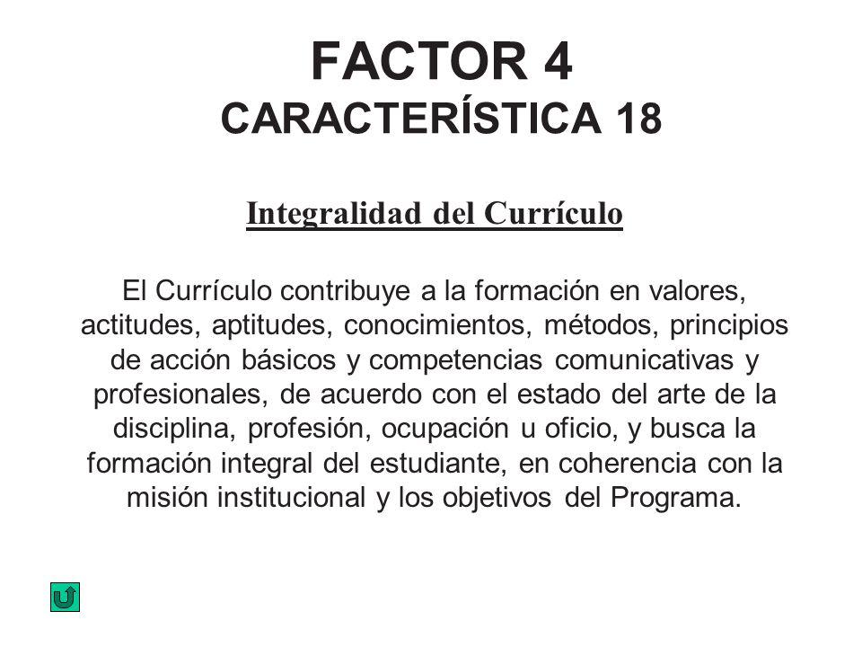 FACTOR 4 CARACTERÍSTICA 18 Integralidad del Currículo El Currículo contribuye a la formación en valores, actitudes, aptitudes, conocimientos, métodos,