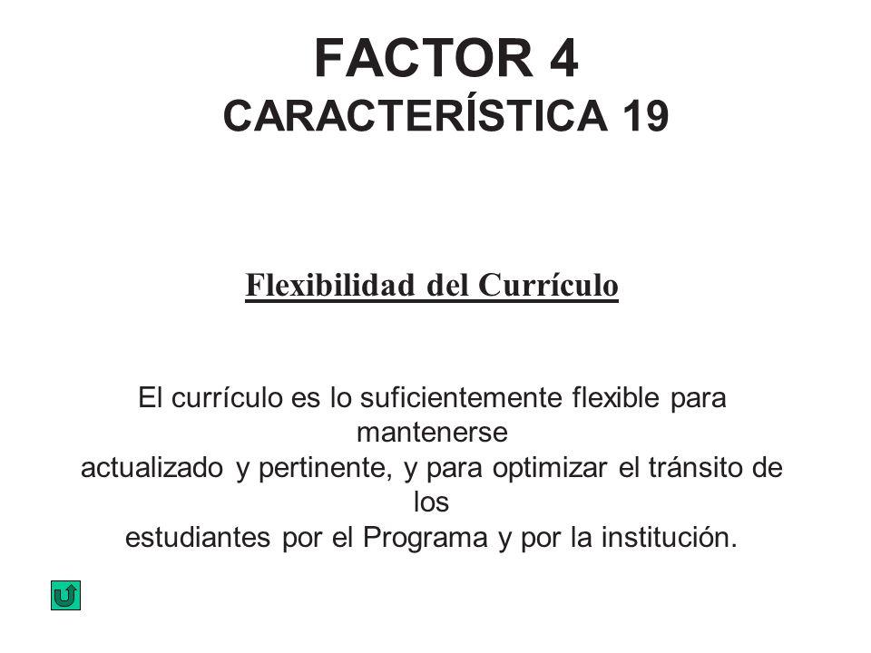 FACTOR 4 CARACTERÍSTICA 19 Flexibilidad del Currículo El currículo es lo suficientemente flexible para mantenerse actualizado y pertinente, y para opt