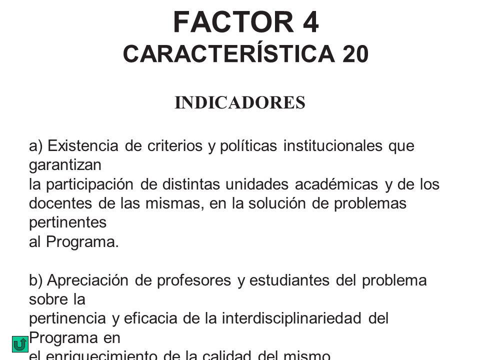 FACTOR 4 CARACTERÍSTICA 20 INDICADORES a) Existencia de criterios y políticas institucionales que garantizan la participación de distintas unidades ac