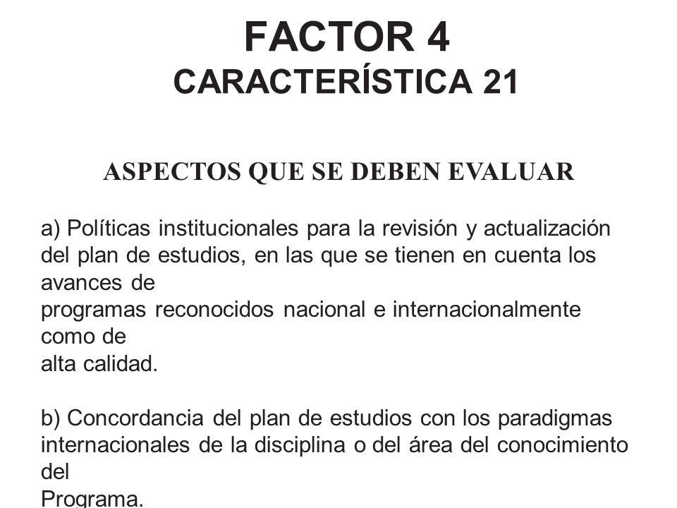 FACTOR 4 CARACTERÍSTICA 21 ASPECTOS QUE SE DEBEN EVALUAR a) Políticas institucionales para la revisión y actualización del plan de estudios, en las qu