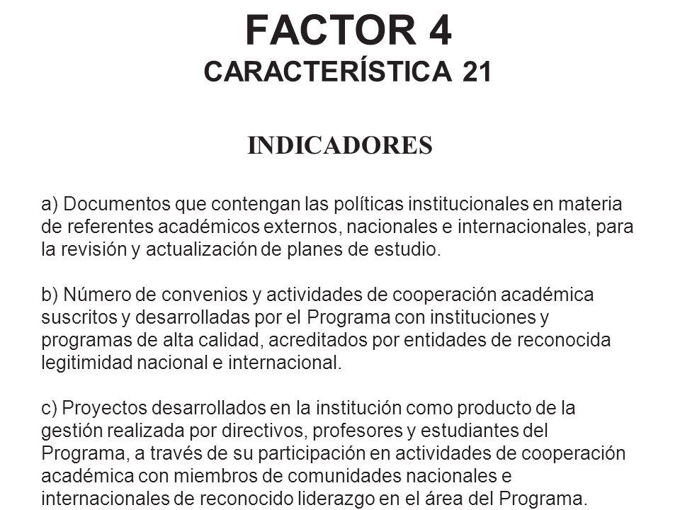 FACTOR 4 CARACTERÍSTICA 21 INDICADORES a) Documentos que contengan las políticas institucionales en materia de referentes académicos externos, naciona