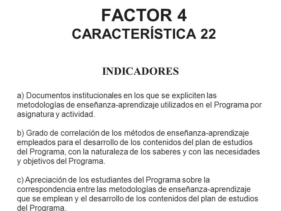 FACTOR 4 CARACTERÍSTICA 22 INDICADORES a) Documentos institucionales en los que se expliciten las metodologías de enseñanza-aprendizaje utilizados en