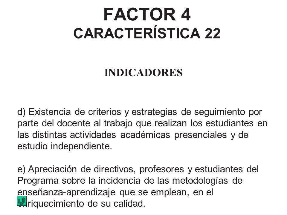 FACTOR 4 CARACTERÍSTICA 22 INDICADORES d) Existencia de criterios y estrategias de seguimiento por parte del docente al trabajo que realizan los estud