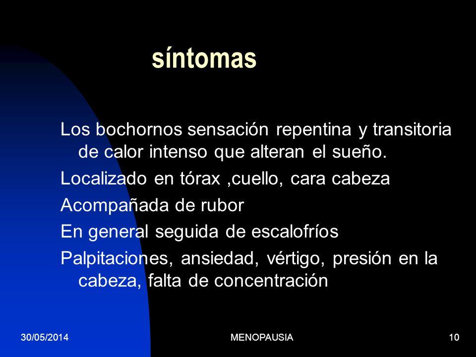 30/05/2014MENOPAUSIA10 síntomas Los bochornos sensación repentina y transitoria de calor intenso que alteran el sueño. Localizado en tórax,cuello, car