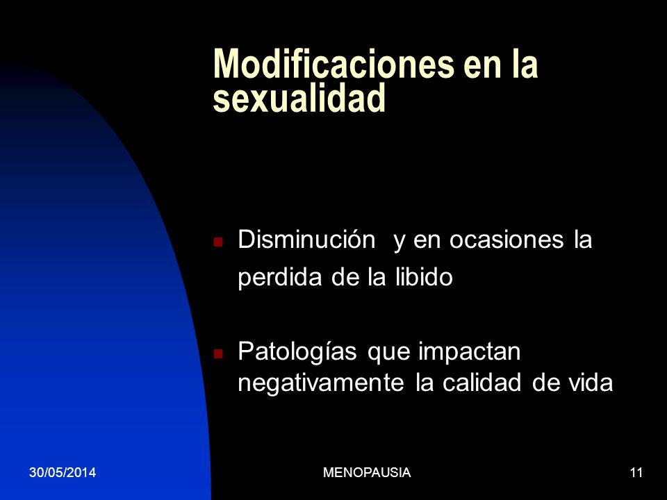 30/05/2014MENOPAUSIA11 Modificaciones en la sexualidad Disminución y en ocasiones la perdida de la libido Patologías que impactan negativamente la cal