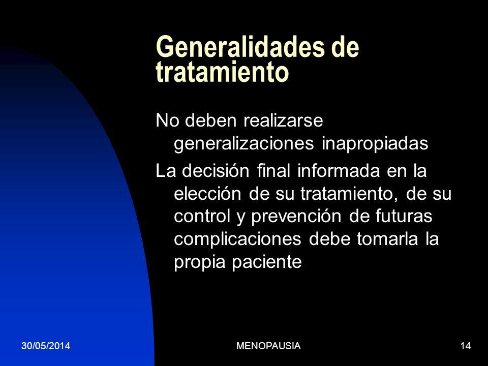 30/05/2014MENOPAUSIA14 Generalidades de tratamiento No deben realizarse generalizaciones inapropiadas La decisión final informada en la elección de su