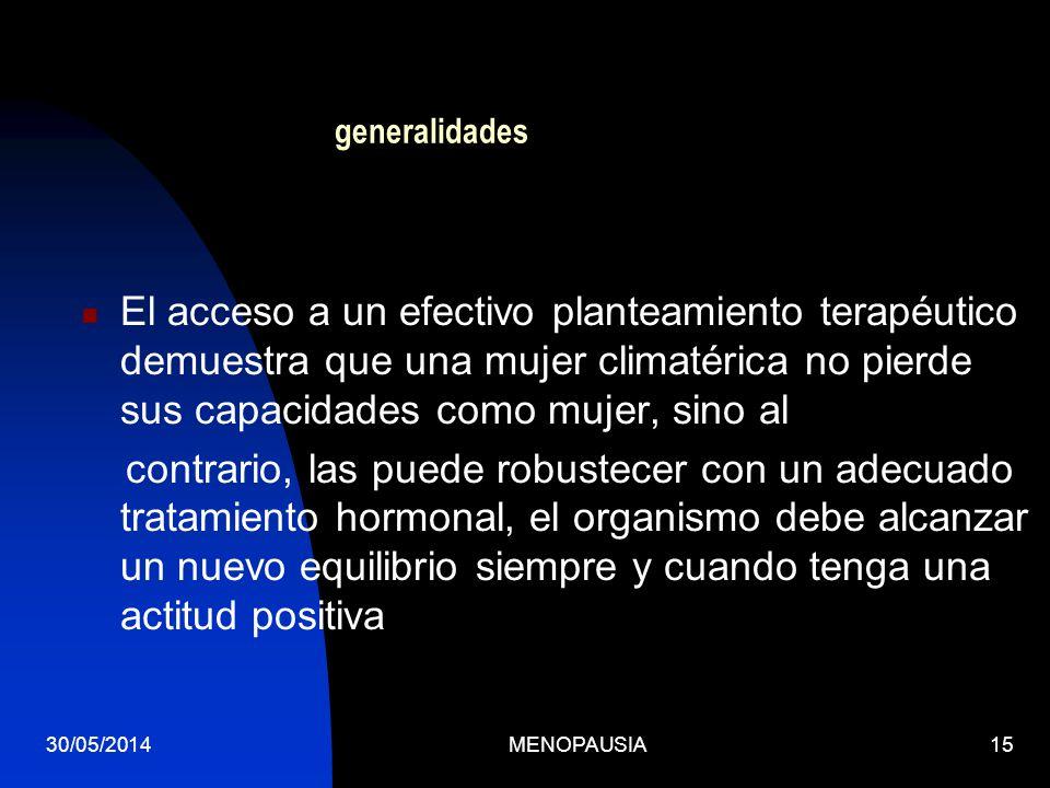 30/05/2014MENOPAUSIA15 generalidades El acceso a un efectivo planteamiento terapéutico demuestra que una mujer climatérica no pierde sus capacidades c