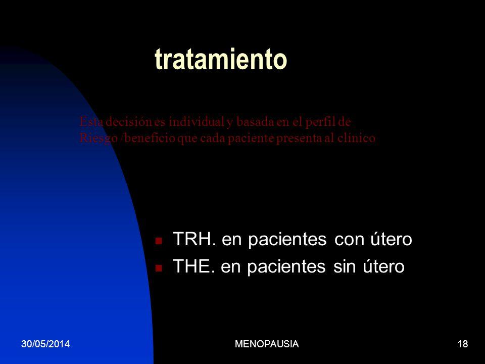 30/05/2014MENOPAUSIA18 tratamiento TRH. en pacientes con útero THE. en pacientes sin útero Esta decisión es individual y basada en el perfil de Riesgo