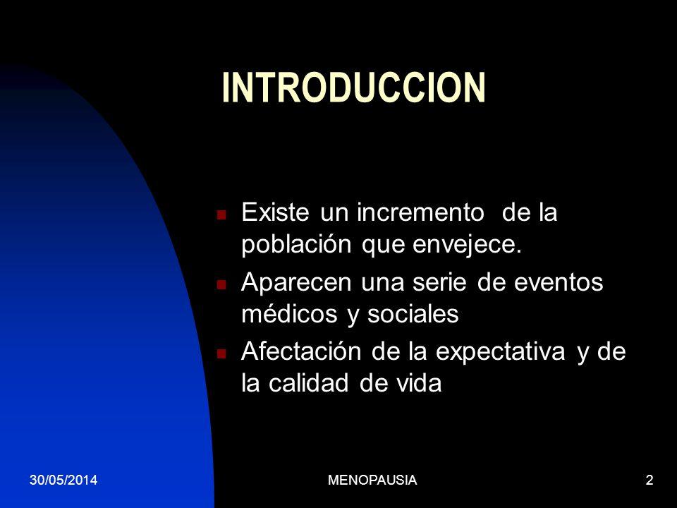 30/05/2014MENOPAUSIA2 INTRODUCCION Existe un incremento de la población que envejece. Aparecen una serie de eventos médicos y sociales Afectación de l