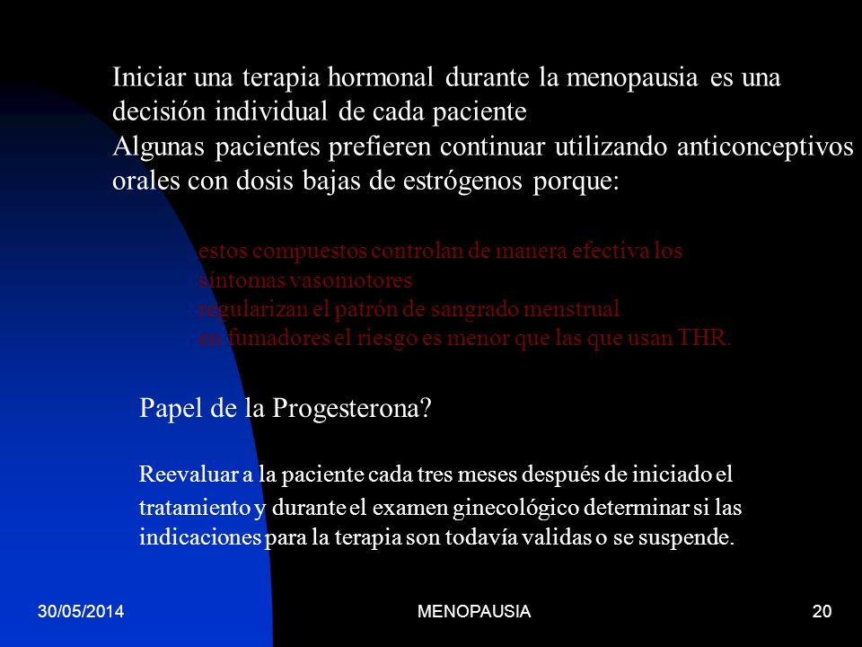 30/05/2014MENOPAUSIA20 Iniciar una terapia hormonal durante la menopausia es una decisión individual de cada paciente Algunas pacientes prefieren cont