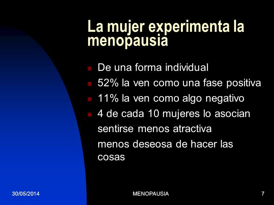30/05/2014MENOPAUSIA7 La mujer experimenta la menopausia De una forma individual 52% la ven como una fase positiva 11% la ven como algo negativo 4 de
