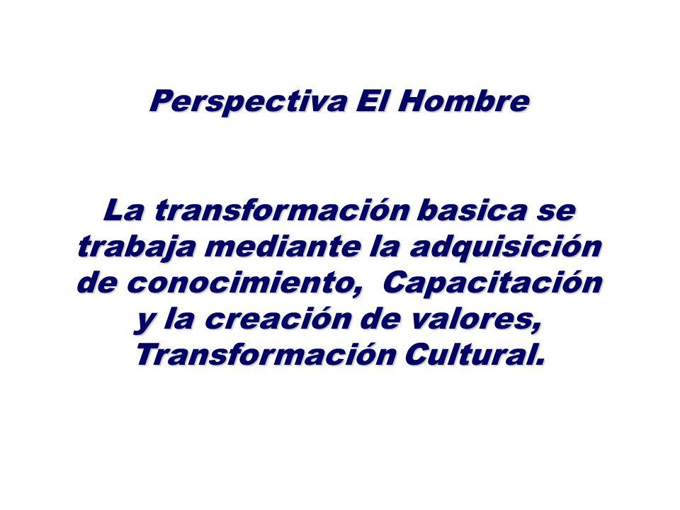 Perspectiva El Hombre La transformación basica se trabaja mediante la adquisición de conocimiento, Capacitación y la creación de valores, Transformaci
