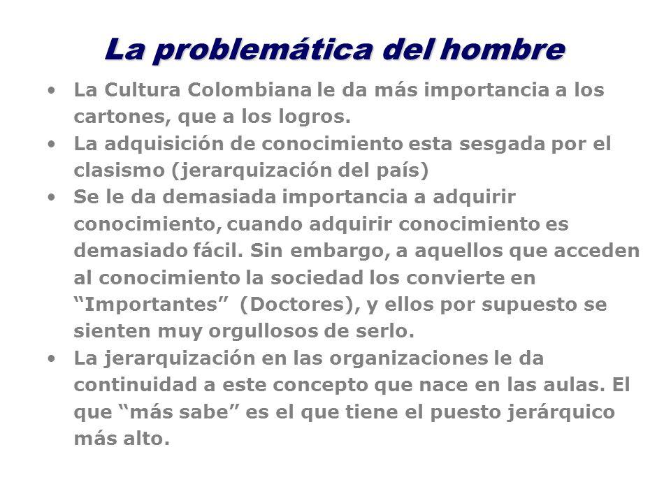 La problemática del hombre La Cultura Colombiana le da más importancia a los cartones, que a los logros. La adquisición de conocimiento esta sesgada p