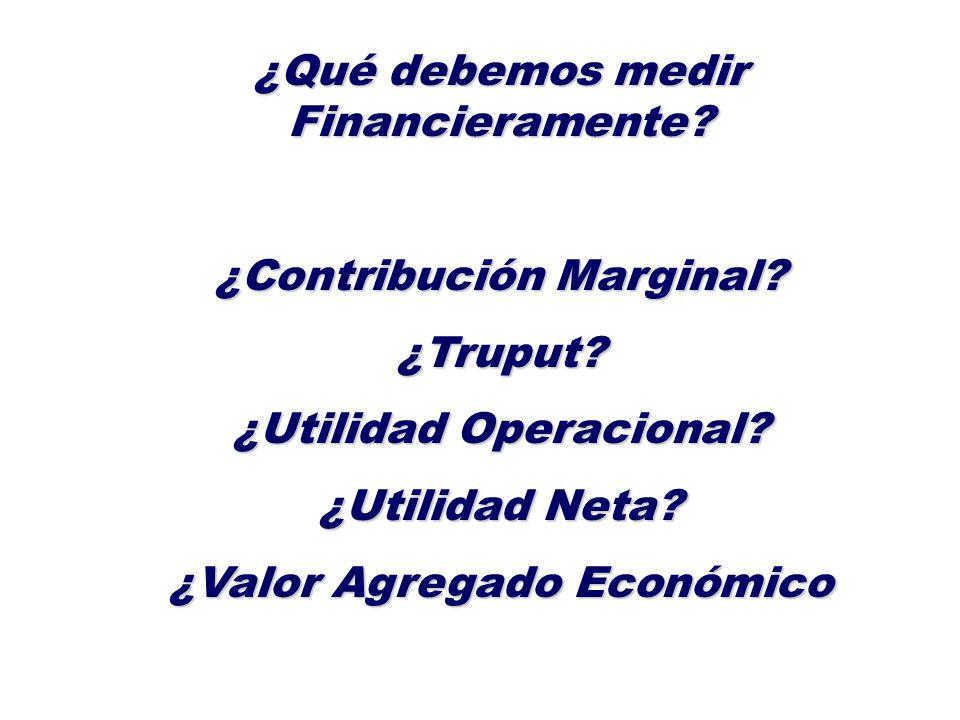 ¿Qué debemos medir Financieramente? ¿Contribución Marginal? ¿Truput? ¿Utilidad Operacional? ¿Utilidad Neta? ¿Valor Agregado Económico