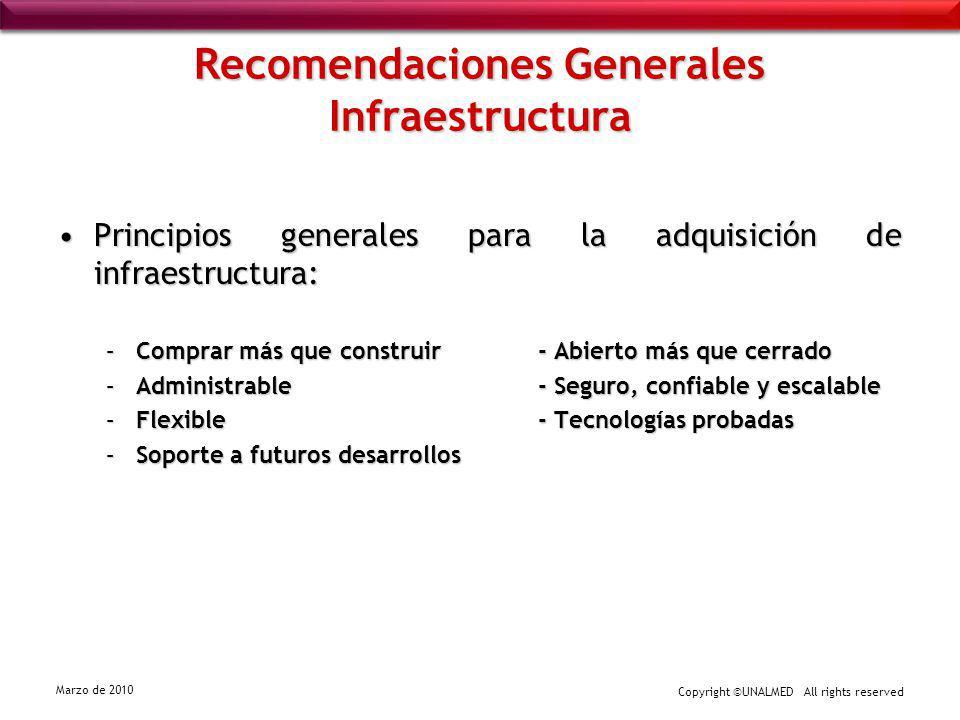 Copyright ©UNALMED All rights reserved Marzo de 2010 Recomendaciones Generales Infraestructura Principios generales para la adquisición de infraestruc