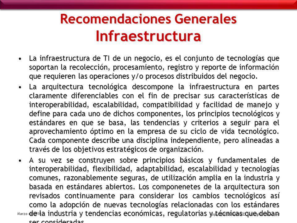 Copyright ©UNALMED All rights reserved Marzo de 2010 Recomendaciones Generales Infraestructura La infraestructura de TI de un negocio, es el conjunto