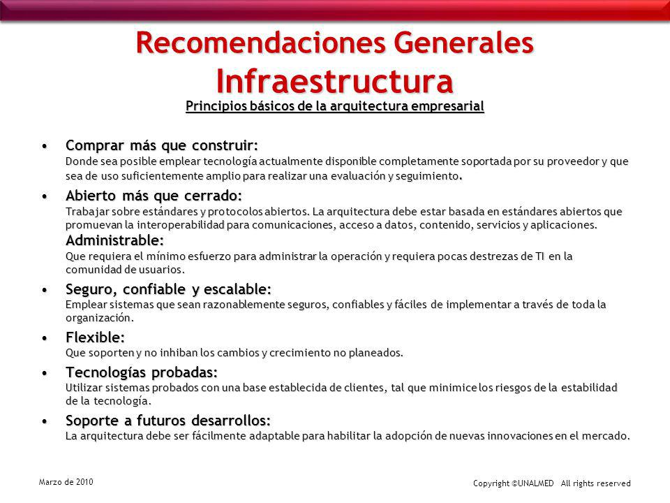 Copyright ©UNALMED All rights reserved Marzo de 2010 Recomendaciones Generales Infraestructura Principios básicos de la arquitectura empresarial Compr