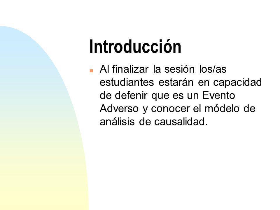 Introducción n Al finalizar la sesión los/as estudiantes estarán en capacidad de defenir que es un Evento Adverso y conocer el módelo de análisis de c