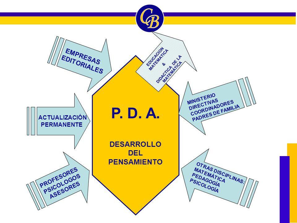 P. D. A. DESARROLLO DEL PENSAMIENTO PROFESORES PSICOLOGOS ASESORES EMPRESAS EDITORIALES MINISTERIO DIRECTIVAS COORDINADORES PADRES DE FAMILIA OTRAS DI