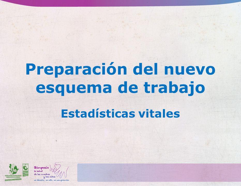 Preparación del nuevo esquema de trabajo Estadísticas vitales