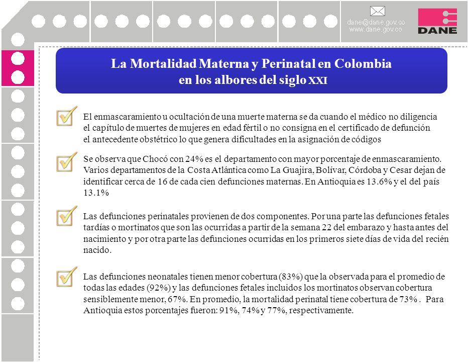 La Mortalidad Materna y Perinatal en Colombia en los albores del siglo XXI El enmascaramiento u ocultación de una muerte materna se da cuando el médic