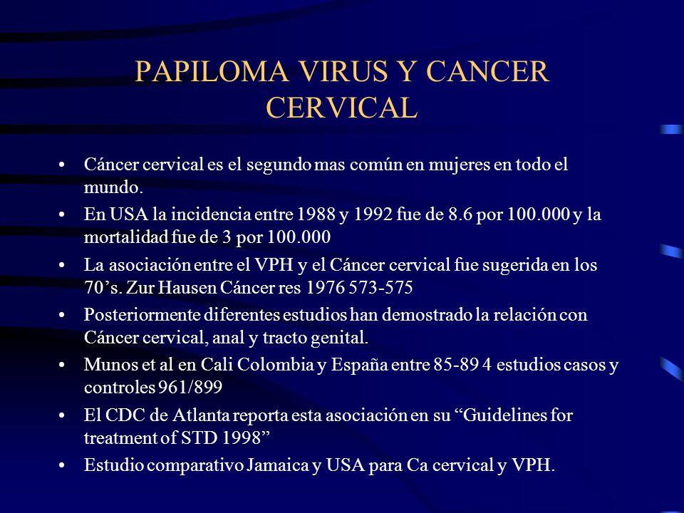 PAPILOMA VIRUS Y CANCER CERVICAL Cáncer cervical es el segundo mas común en mujeres en todo el mundo. En USA la incidencia entre 1988 y 1992 fue de 8.