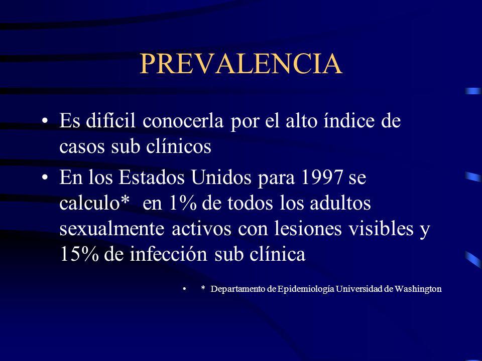 PREVALENCIA Es difícil conocerla por el alto índice de casos sub clínicos En los Estados Unidos para 1997 se calculo* en 1% de todos los adultos sexua