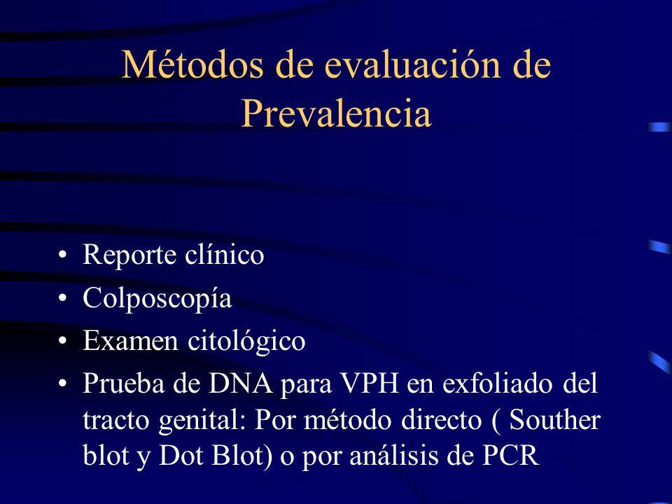Métodos de evaluación de Prevalencia Reporte clínico Colposcopía Examen citológico Prueba de DNA para VPH en exfoliado del tracto genital: Por método