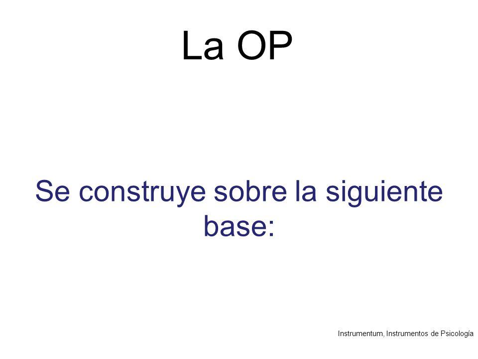 Instrumentum, Instrumentos de Psicología La OP Se construye sobre la siguiente base: