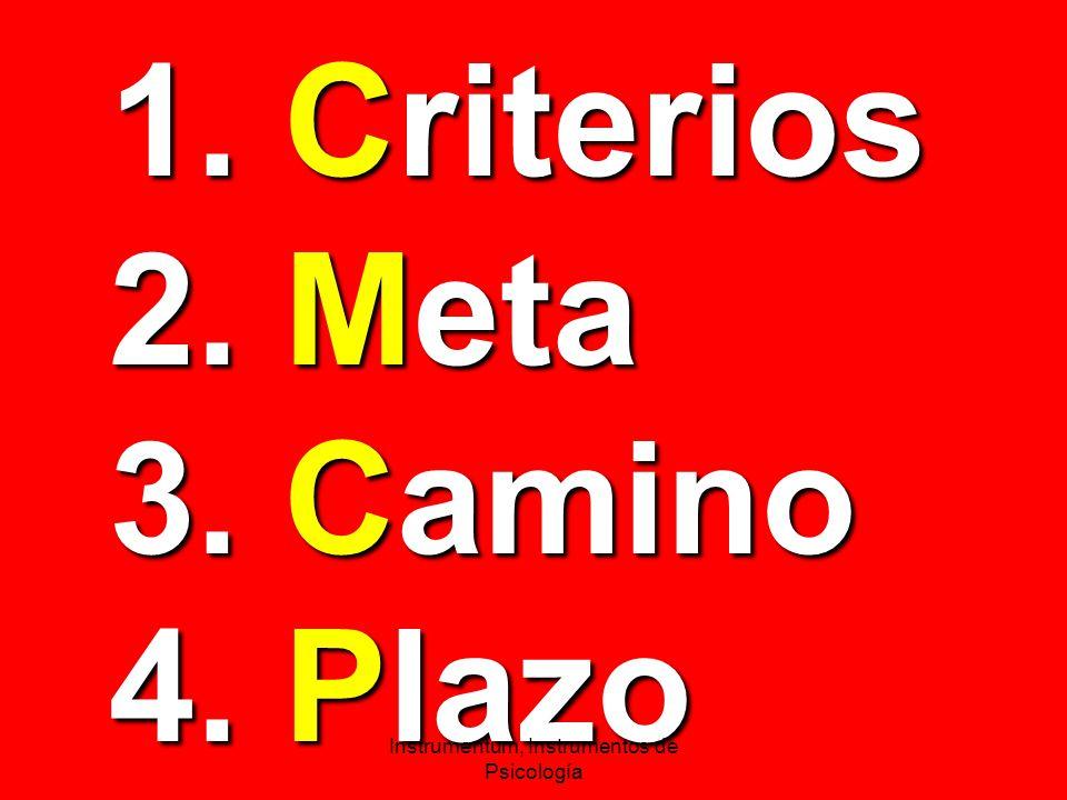 1. Criterios 2. Meta 3. Camino 4. Plazo Instrumentum, Instrumentos de Psicología