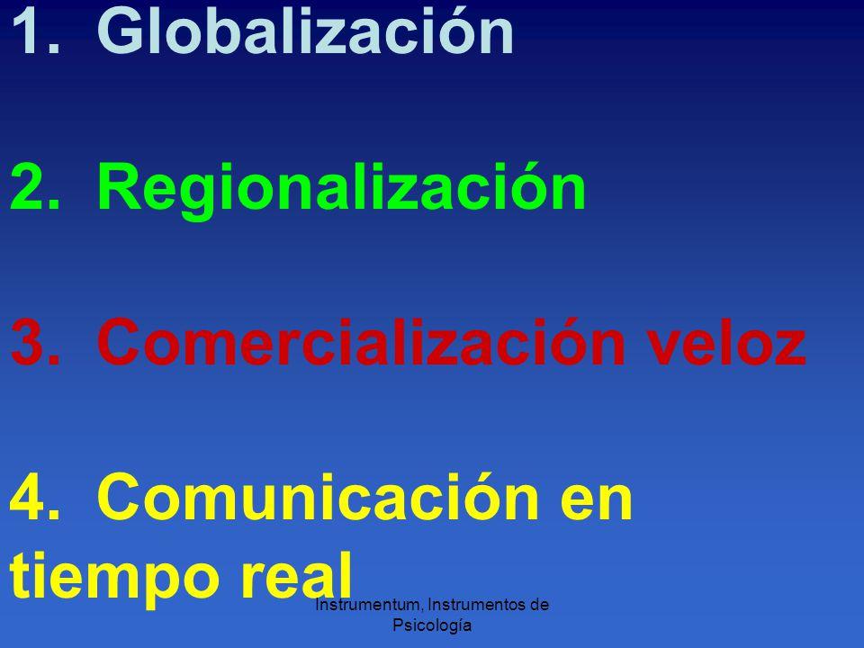 1.Globalización 2. Regionalización 3. Comercialización veloz 4.