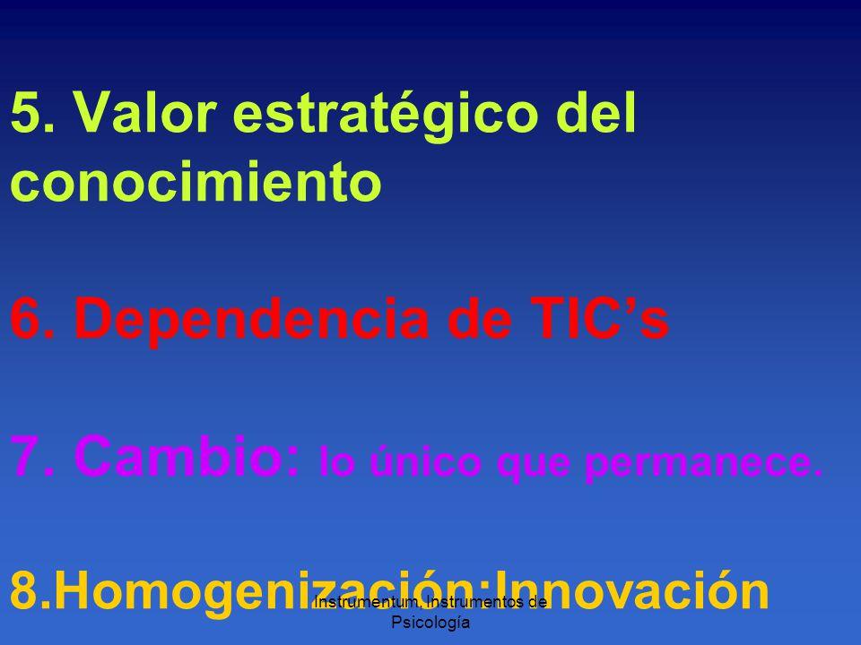 5. Valor estratégico del conocimiento 6. Dependencia de TICs 7.