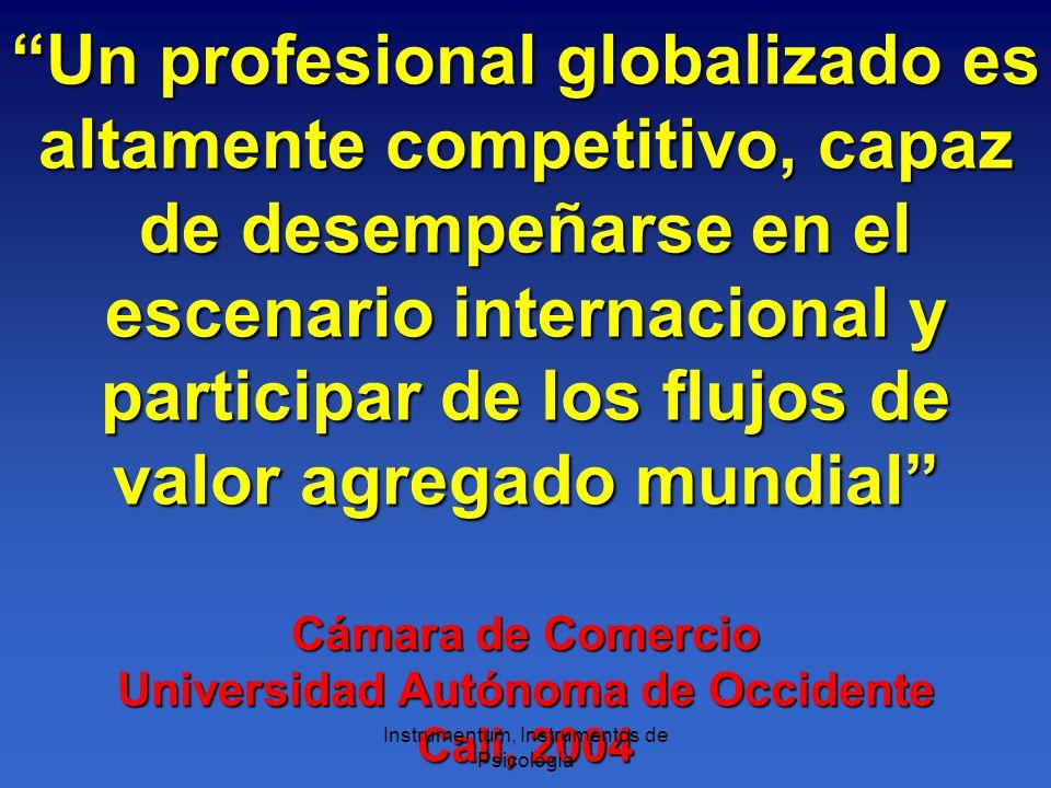 Un profesional globalizado es altamente competitivo, capaz de desempeñarse en el escenario internacional y participar de los flujos de valor agregado mundial Cámara de Comercio Universidad Autónoma de Occidente Cali, 2004 Instrumentum, Instrumentos de Psicología