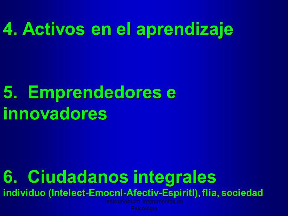 4. Activos en el aprendizaje 5. Emprendedores e innovadores 6.