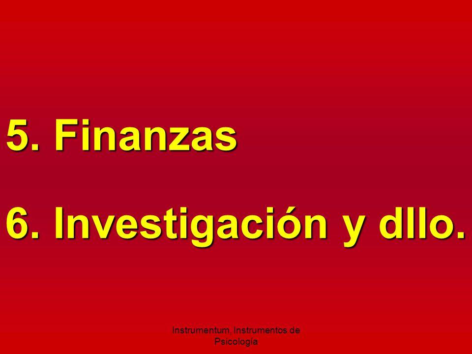 5. Finanzas 6. Investigación y dllo. Instrumentum, Instrumentos de Psicología