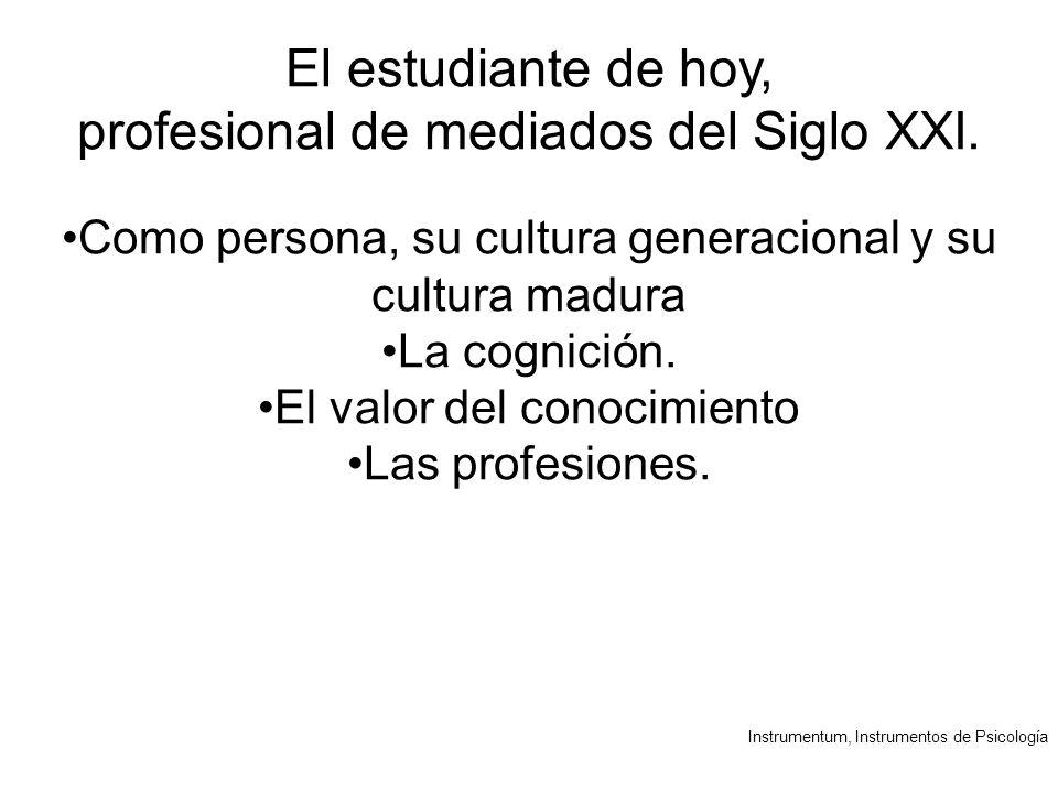 Instrumentum, Instrumentos de Psicología El estudiante de hoy, profesional de mediados del Siglo XXI.