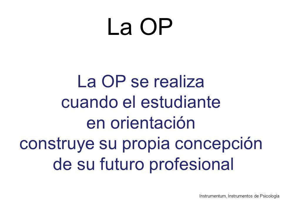 Instrumentum, Instrumentos de Psicología La OP La OP se realiza cuando el estudiante en orientación construye su propia concepción de su futuro profesional