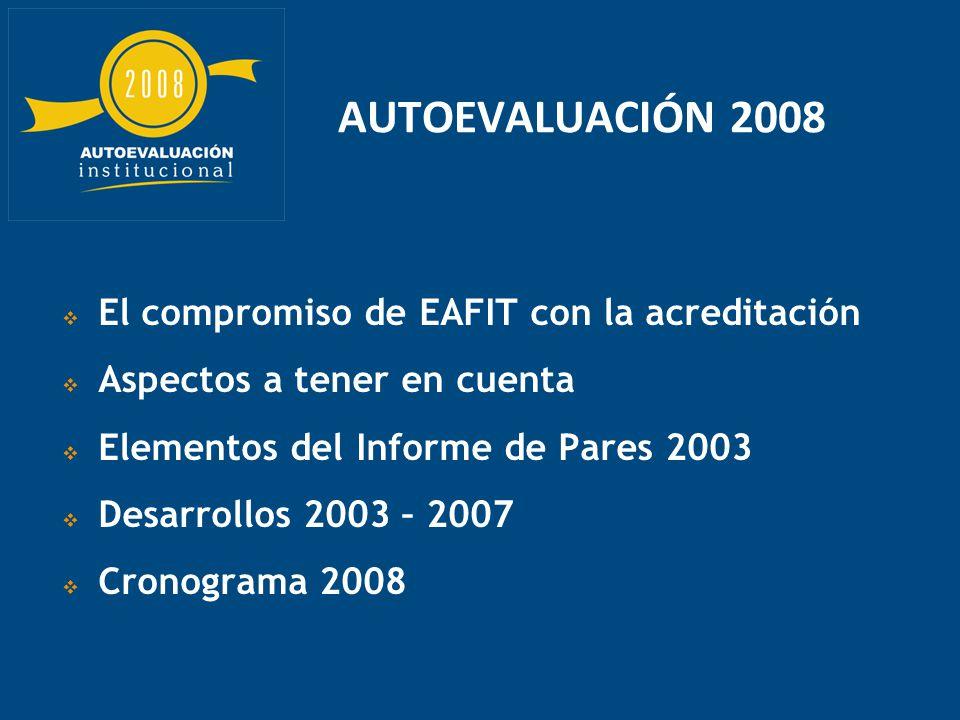 El compromiso de EAFIT con la acreditación Aspectos a tener en cuenta Elementos del Informe de Pares 2003 Desarrollos 2003 – 2007 Cronograma 2008 AUTOEVALUACIÓN 2008