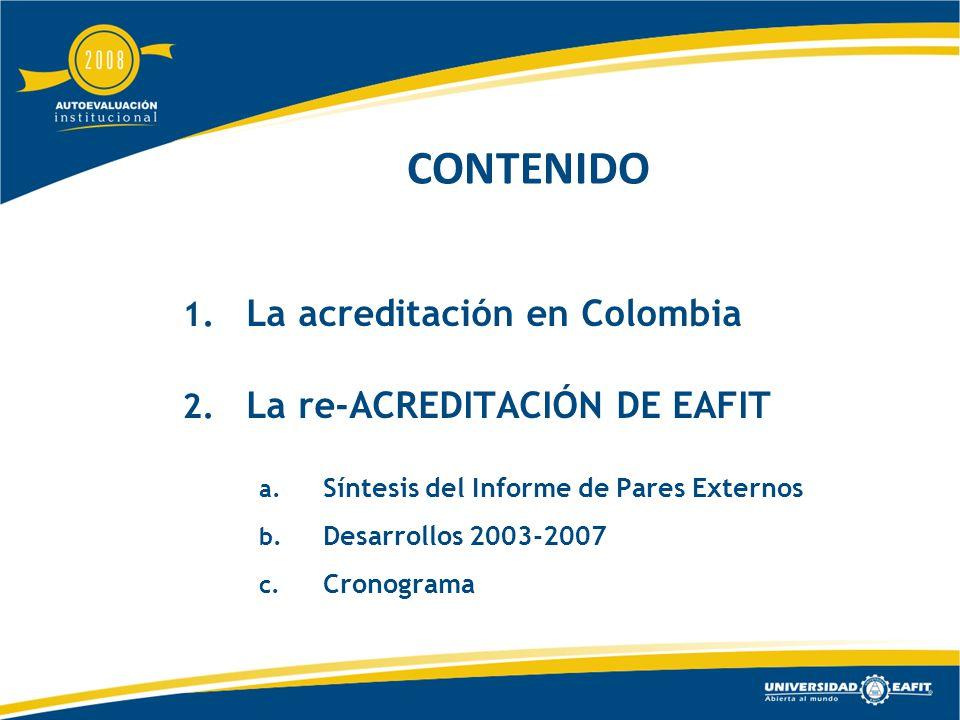 CONTENIDO 1. La acreditación en Colombia 2. La re-ACREDITACIÓN DE EAFIT a.