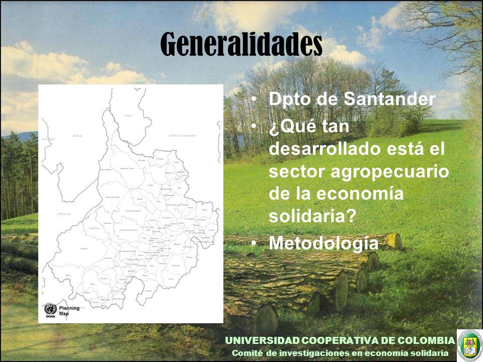 Generalidades Dpto de Santander ¿Qué tan desarrollado está el sector agropecuario de la economía solidaria.