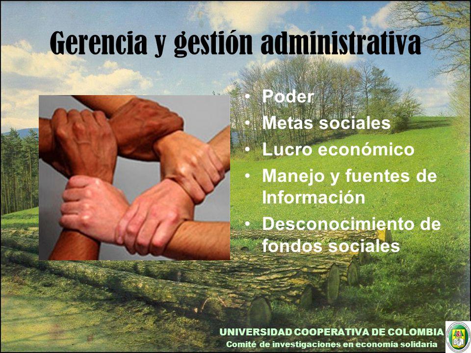 Gerencia y gestión administrativa Poder Metas sociales Lucro económico Manejo y fuentes de Información Desconocimiento de fondos sociales UNIVERSIDAD COOPERATIVA DE COLOMBIA Comité de investigaciones en economía solidaria